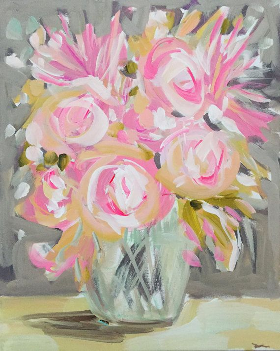 Impressionist Art Acrylic Painting Original Canvas Art Impressionism Roses Abstract Floral Flower Pink Painting Impressionist Art