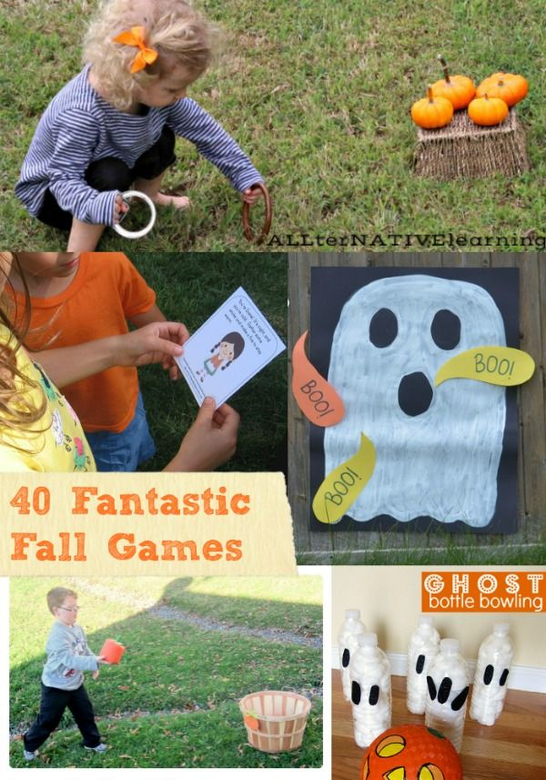 Perfect for class parties, Halloween party ideas and fall carnival games! Awesome DIY Fall Games that kids can play outside!