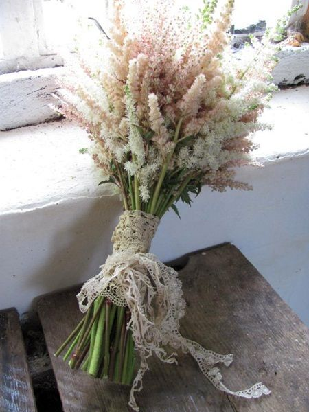 White, pink blushed and peachy astilbe bouquet from The Blue Carrot