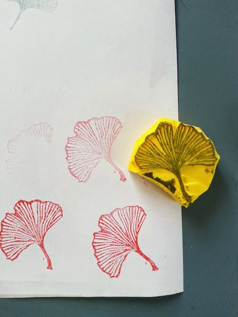 Hand-carved stamp of a natural healing beauty: Ginkgo Biloba