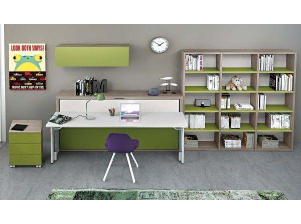 Dynamic Study #2 è una cameretta con letto a scomparsa singolo dotato di scrittoio, libreria, pensile contenitore e cassettiera su ruote.