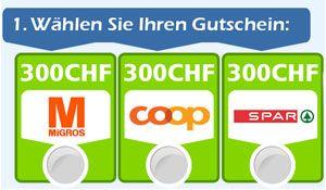 Gewinne mit ein wenig Glück jeden Monat wahlweise einen Gutschein im Wert von CHF 300.- von der Migros, Coop oder SPAR. https://www.alle-schweizer-wettbewerbe.ch/gewinne-monatlich-einen-chf-300-einkaufsgutschein/