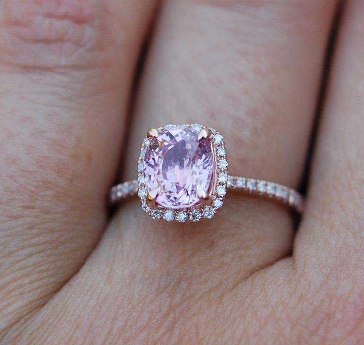 »Pink Sapphire #ring 14k rose gold #diamond by #EidelPrecious«
