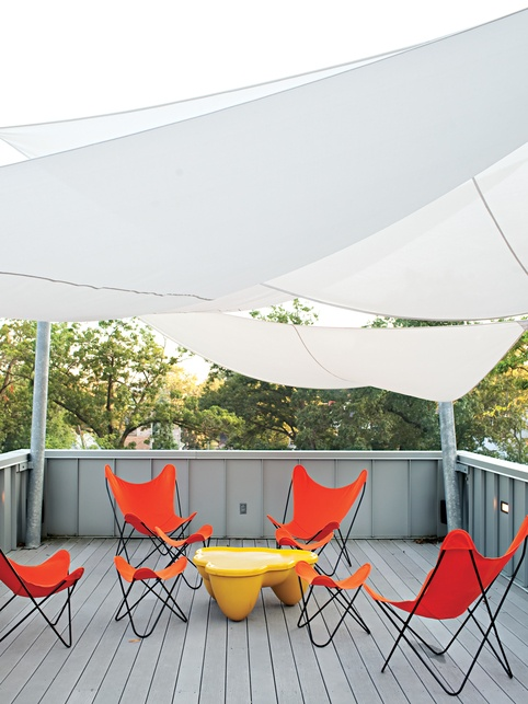 To reduce heat load and provide shade, DeSalvo initially tracked down a sail system from Sun Shade Australia. But the $6,000 price tag had the architect and contractor designing their own version out of Mermet solar screen fabric. It was fabricated by Covers Unlimited for $1,800. coversunlimitedinc.com    Read more: http://www.dwell.com/slideshows/come-sail-away.html?slide=12=y=true#ixzz1WG1SyNAlSailing Shades, Roof Decks, Butterflies Chairs, Shades Sailing, Sailing Canopies, Rooftops Patios, Outdoor Spaces, Shade Sails, Modern Design