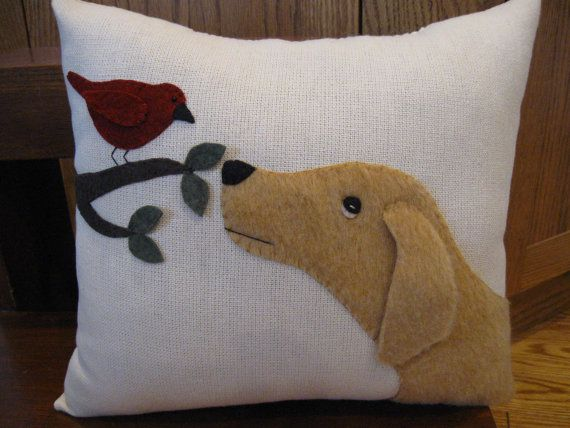 Puppy Dog and Bird Wool Applique Pillow.....Will You Be My Friend?