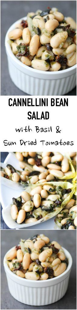 Cannellini Bean Salad with Basil and Sun-Dried Tomatoes makes a lovely light lunch or can be enjoyed as a refreshing side, or take it to a picnic, potluck. It is naturally vegan & gluten-free. www.foodpleasurea...