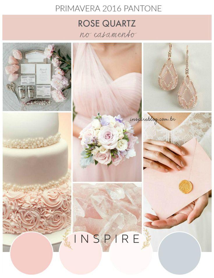 Rose Quartz no casamento   Tendência cor Pantone 2016  PS: Tendência pra 2016