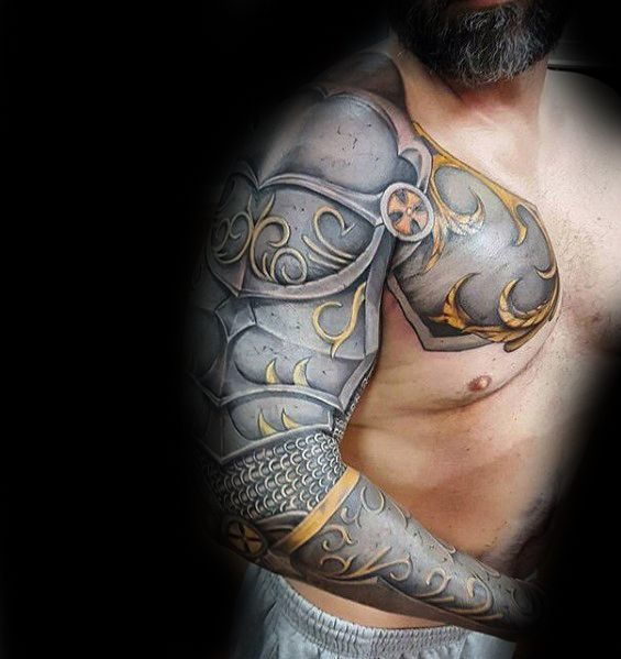 Awesome Realistic 3d Mens Battle Armor Full Sleeve Tattoos
