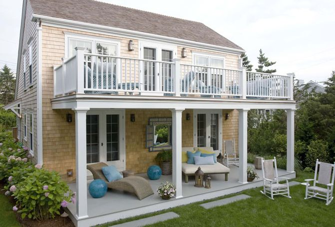 Love the upper deck with the french doors and the lower deck awesome