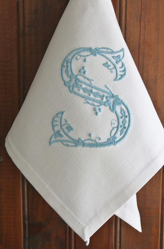 monogrammed napkins monogram napkin personalized embroidered monogram napkin dinner cloth napkin made with vintage french linen - Linen Monogrammed Napkins