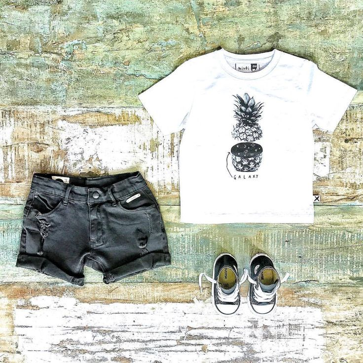 Toddler Boys Clothes ~ Minti boys pineapple galaxy tee, Sudo denim shorts & Converse high top sneakers [shop online & in-store in Noosa]   www.tinystyle.com.au  #minti #sudo #boysfashion #coolkids #coolkidsclothes #iloveminti #sudokids #sudodenim #kidsdenim #converse #conversekids #boysclothes
