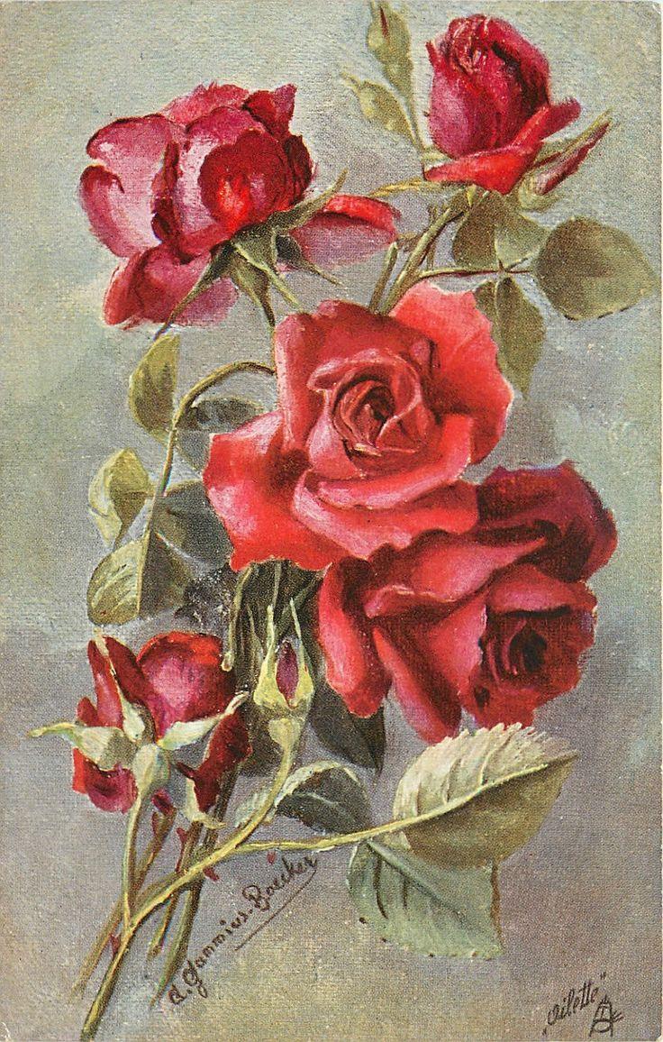 Открытка старинная с цветами