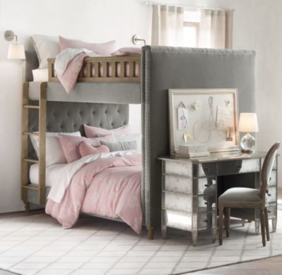 RH Baby & Child's Chesterfield Tufted Velvet Full-Over-Full Bunk Bed:Generous padding and deep hand tufting ensure all the comfort of a fine Chesterfield sofa, transforming a child's bed into a luxuriously cozy spot for sleeping, lounging and reading.