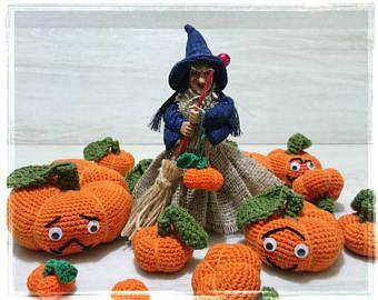 Bambola della strega di buona fortuna cucina con mini zucca regalo da collezione Vintage Retro per Casa Ornamento hag fortunato scopa Halloween Horror lino Decor