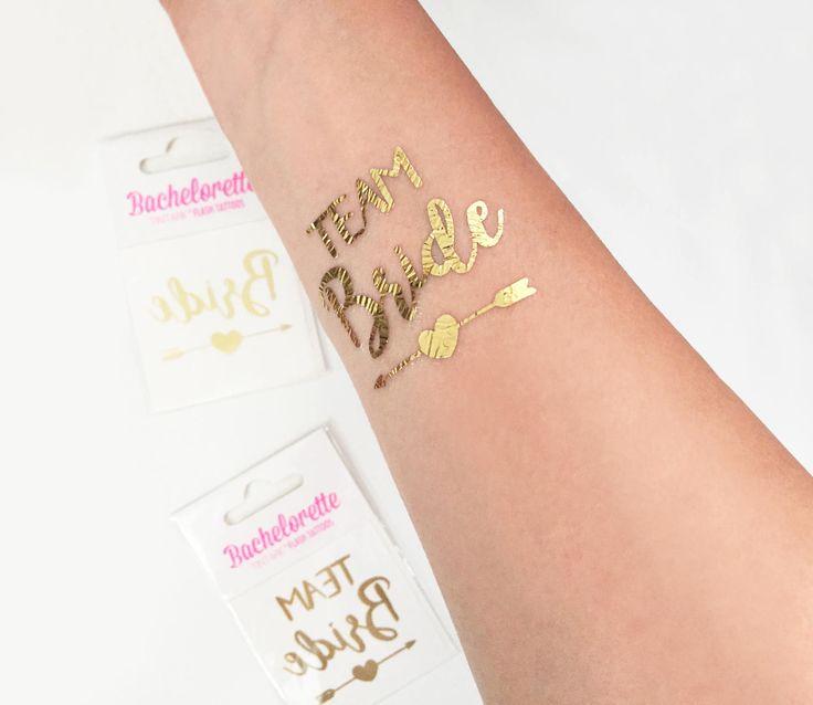 Tatuaggi temporanei GOLD Addio al nubilato, Oro, Gold Temporary tattoo, TEAM BRIDE, Bride, Bachelorette party tattoo di Verifly su Etsy