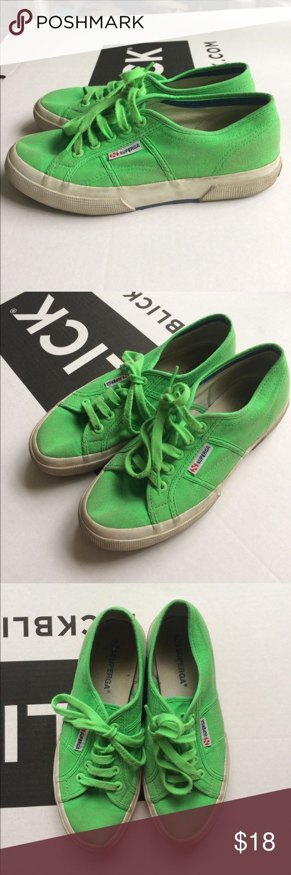 Lime green Superga sneakers Worn condition but still shine bright and have been washed !! Great for spicing up casual looks Superga Shoes Sneakers