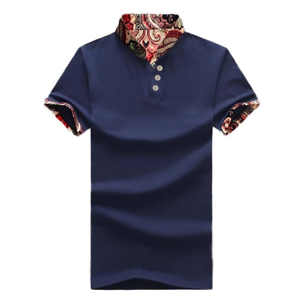 L-5XL Vintage Chinese Style Printing Stand Collar Slim Fit Short Sleeve Polo T-Shirt For Men