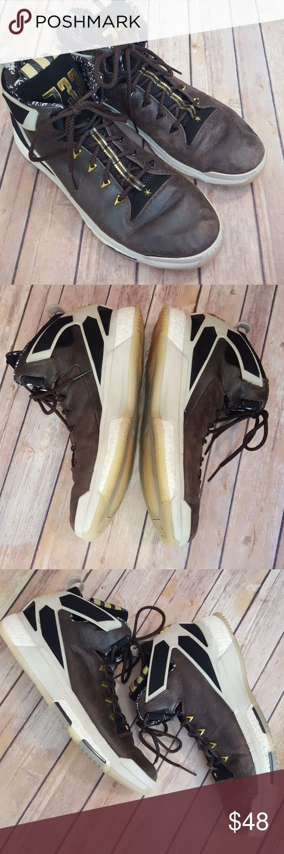 Adidas D Rose 6 Boost BHM Adidas D Rose 6 Boost BHM, sz 15. Jesse Owens tribute. Used, but still have tons of life left in them. Brown leather, gold accents. One very small area where the rubber is separating from the leather on the front of the right shoe (see photos) adidas Shoes