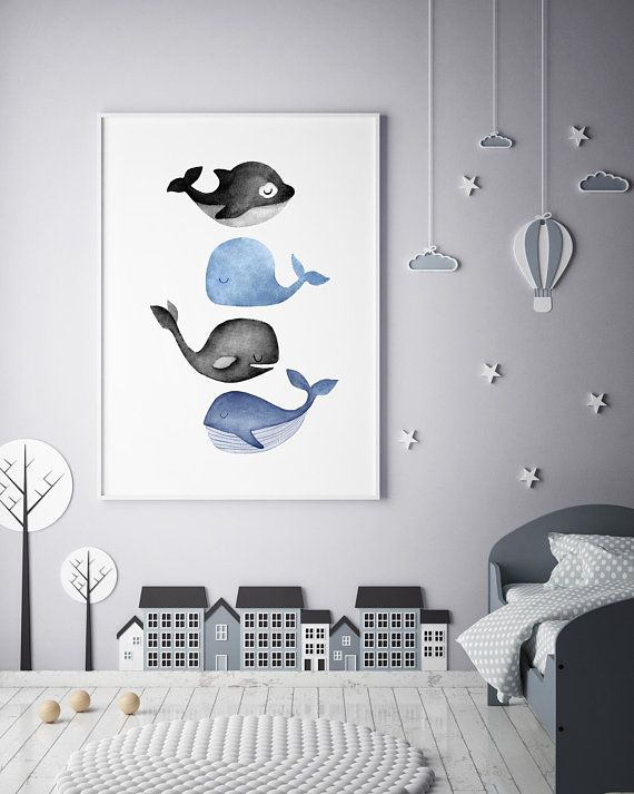 Whales Print, Ocean Art Print, Watercolor Whale Artwork, Gray Whale Print,Watercolor Whale Painting, Nursery Art, Baby Animal Art