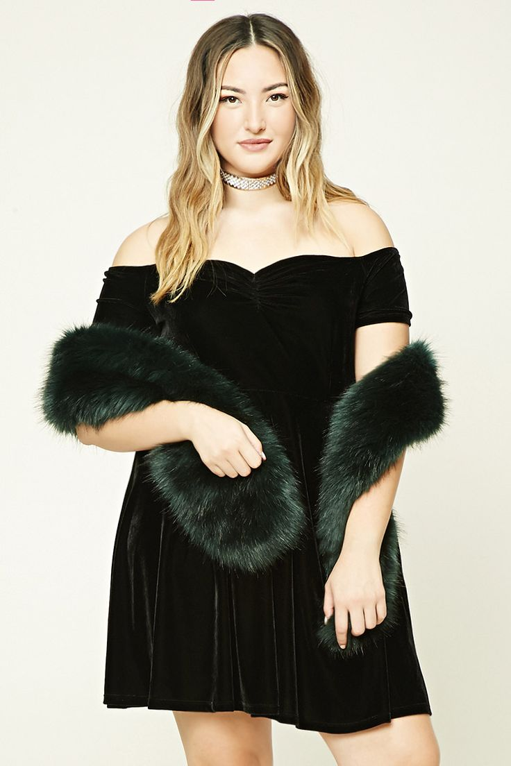 Forever 21+ - A knit velour dress featuring an off-the-shoulder neckline, a ruched detail at the center-front bodice, short sleeves, a fit and flare silhouette, and an invisible back zipper.