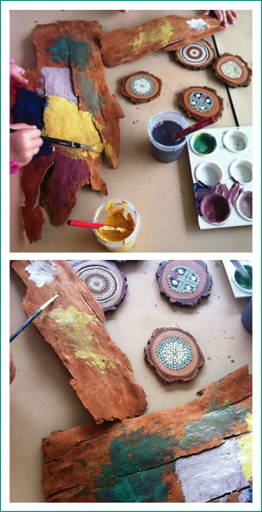 Art inspiration - painting materials found in nature, let the children play: bark painting at preschool