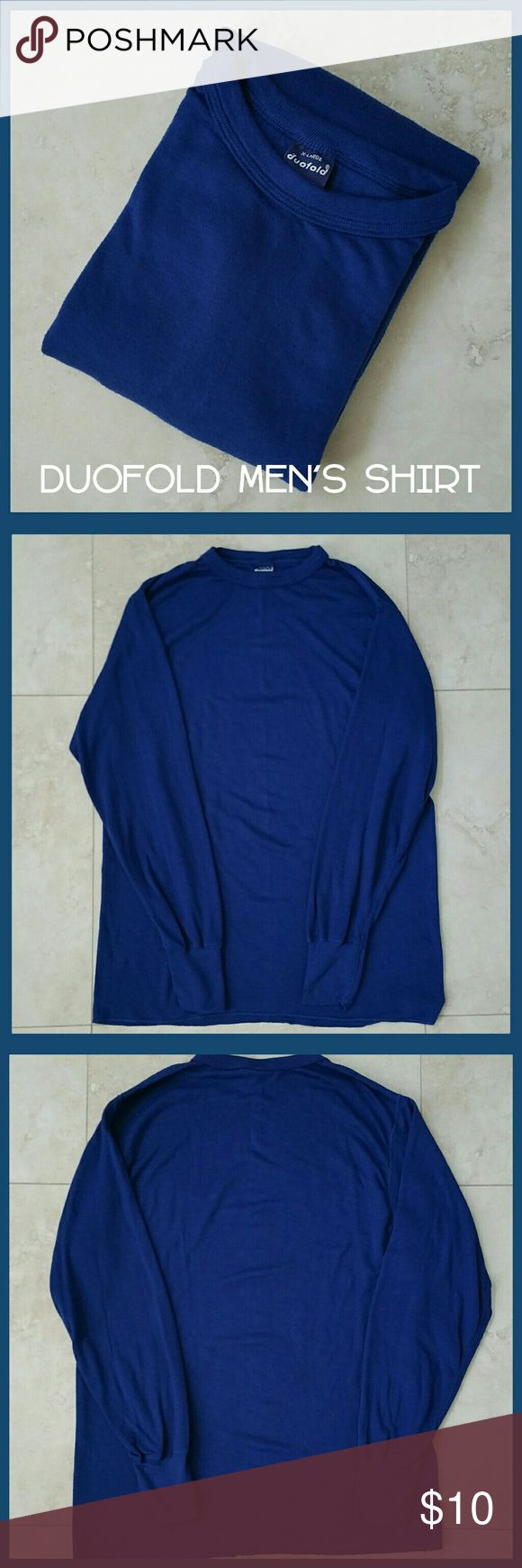 🚵 Duofold Men's Thermal Shirt Blue Crew Neck XL * Duofold men's mid-weight thermal shirt. Crew neck. Soft material. Wear as a base layer or by itself. * Size XL. * 100% thermostat polyester. * Good used condition. Minor pilling of fabric. Duofold Shirts Tees - Long Sleeve