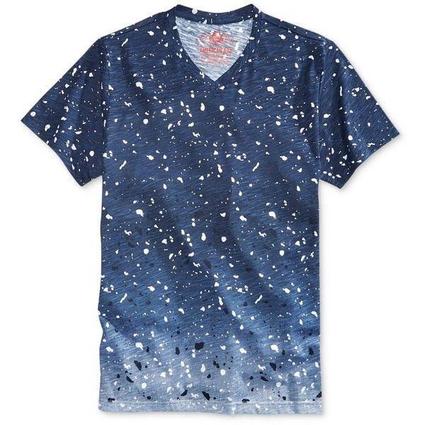 American Rag Men's Ombre Paint Splatter V-Neck T-Shirt, ($13) ❤ liked on Polyvore featuring men's fashion, men's clothing, men's shirts, men's t-shirts, basic navy, old navy mens t shirts, mens navy blue v neck t shirt, old navy mens shirts, mens navy blue shirt and men's v neck t shirts