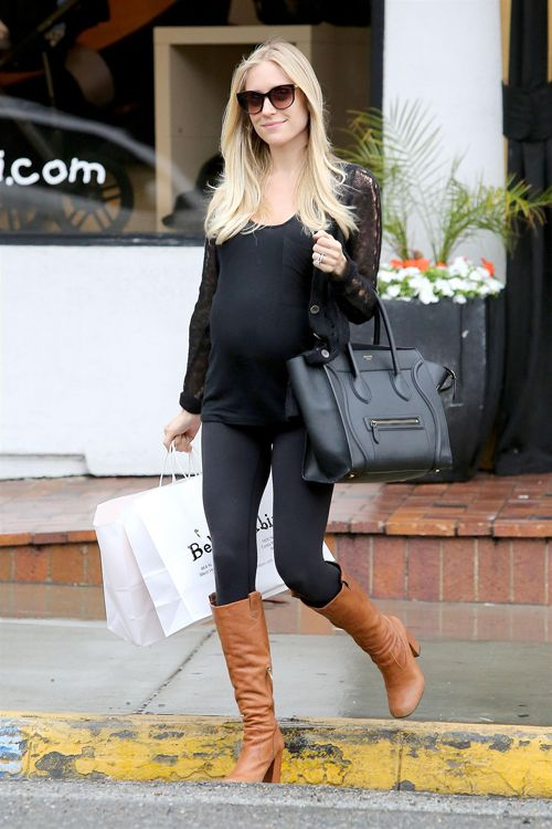 Easy and classy -- All fitted black, and camel riding boots. {Kristin Cavallari shopping in West Hollywood on March 1.}
