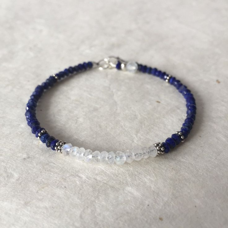 Mother's Day Lapis Lazuli Moonstone Karen Hill Tribe Thai Silver Beaded Bracelet, Sundance Style, Boho Bracelet, Stacking Bracelet by LoveandLightArtistry on Etsy