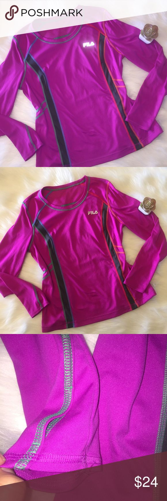 Fila Sport Performance Long Sleeve Workout Shirt Seriously Great material!! There are thumb holes ! The stiches are ombre and the shirt is a deep pink / magenta color. Fila Tops