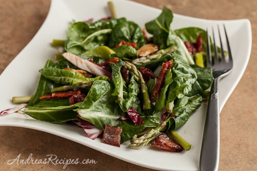 Baby Chard Salad with Asparagus, Sun-Dried Tomatoes, and Hot Bacon Dressing