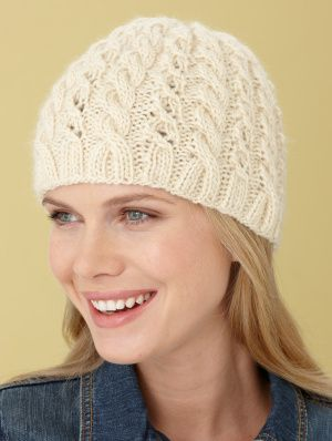 Cables And Lace Hat - Free Knitting Pattern by Lion Brand