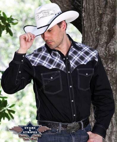 50-MADDOX   Camisa vaquera manga larga para hombre combinación cuadros grises y algodón negro, si eres rockabilly esta camisa también te encantará!