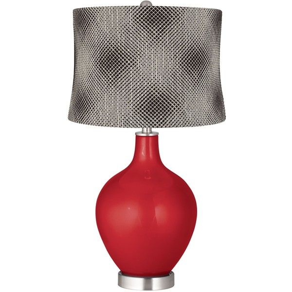Color Plus Sangria Metallic Black Pixels Shade Ovo Table Lamp ($150) ❤  Liked On Polyvore Featuring Home, Lighting, Table Lamps, Red, Red Drum  Shade, Red ...