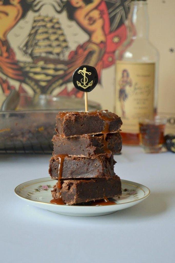 Tattooed Martha - Boozy Brownies with Salted Caramel Rum Sauce