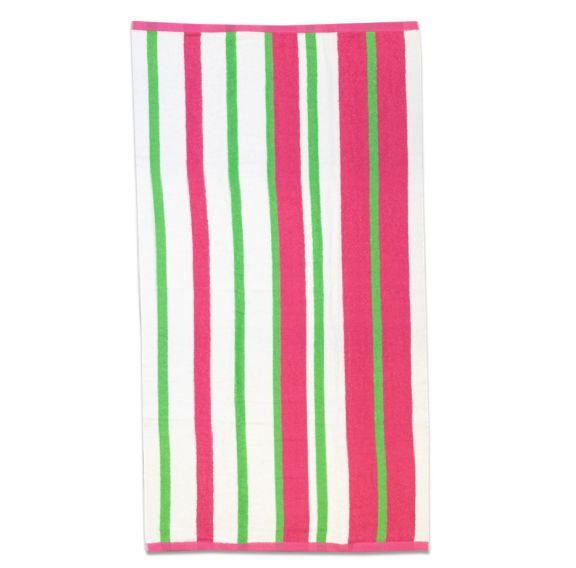 Calypso Stripe Beach Towel In Fuchsia Pink And Lime Beach Towel