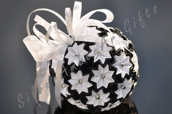 Black & white origami kusudama paper ball. Origami Christmas ornament. Paper Christmas decoration. Xmas ornament.