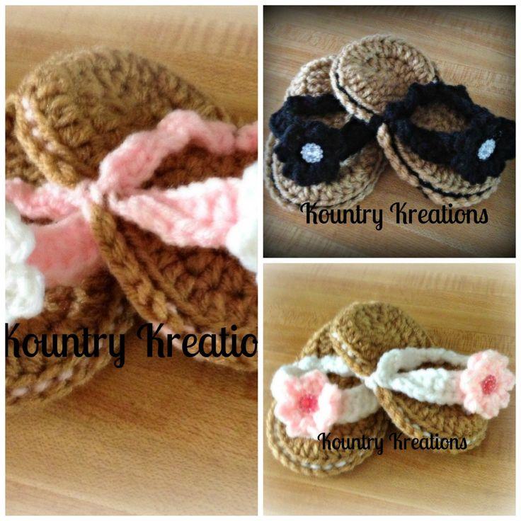Crocheted baby flip flops/ crochet baby sandals/ baby shoes/ Little Flip Flops/NEWBORN Sweet Little Flip Flops with Flower (Ready to Ship) by KountryKreations2008 on Etsy https://www.etsy.com/listing/99334784/crocheted-baby-flip-flops-crochet-baby