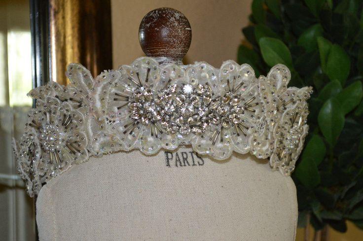 Wedding Crown, Vintage Wedding Crown, Ivory Bridal Crown, Wedding Tiara, Vintage Wedding Tiara, Antique Crystal Crown, Antique Wedding Crown by thiswayvintage on Etsy