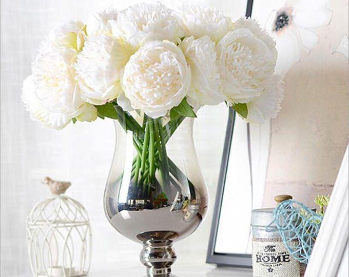 VANRINA Silk Peony Bouquet Quality Wedding Flowers 5 Heads Artificial Peonies Bouquet For Bridal Bridesmaids DIY Flowers Centerpieces