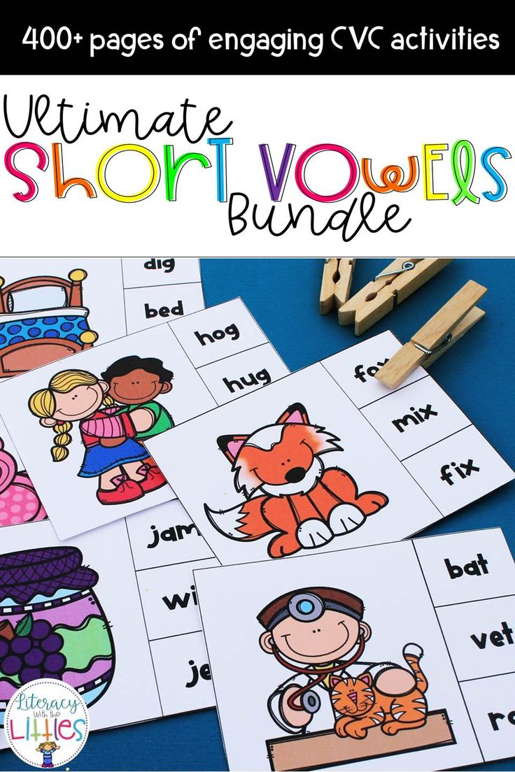 "This bundle is filled with engaging activities that focus on all of the short vowel sounds. These activities are perfect for guided reading instruction, small groups, literacy centers, and with parent volunteers. What's Included: Short A CVC Clip Cards Short A Scoot Game Short A Word Family Puzzles Short A Word Family Booklet Short A Word-Picture Puzzles Short A Sound Boxes {Elkonin Boxes} Short A CVC Small Group Reading Game ""Oh, rats!""  Short E CVC Clip Cards Short E Scoot Game Short E…"