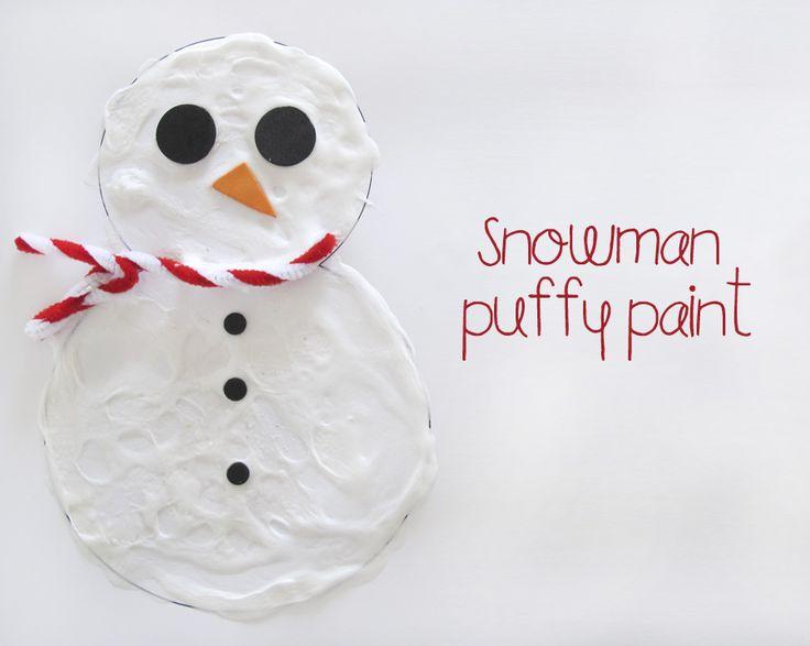 a little delightful: snowman puffy paint