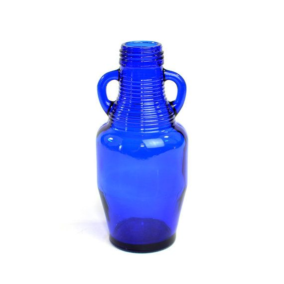 #Vintage #Retro #Cobalt #Blue #Glass #Jug #Bottle with Handles: Bold, Deep Color Pop Accent for #Home or #Kitchen #Decor or #Vase. Available from OneRustyNail on Etsy. ► http://www.etsy.com/shop/OneRustyNail