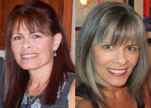 """Kim went from """"monotone brown-from-a-box"""" to multi-tone salt & pepper. She says, """"I'm going to be 56 in a couple days and I'm okay with that. I don't feel the need for people to think I'm 10 years younger. There truly is a lot of freedom in being who you are."""""""