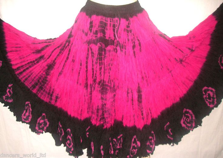 Fushia Pink/Black tribal gypsy skirt 25yards  Beautiful Skirt available in different lengths 34/35inch to 40/42inch outside leg Colour can vary slightly as they are all hand dyed and will be darker Washing - Dry clean is recommended Price: £45.00