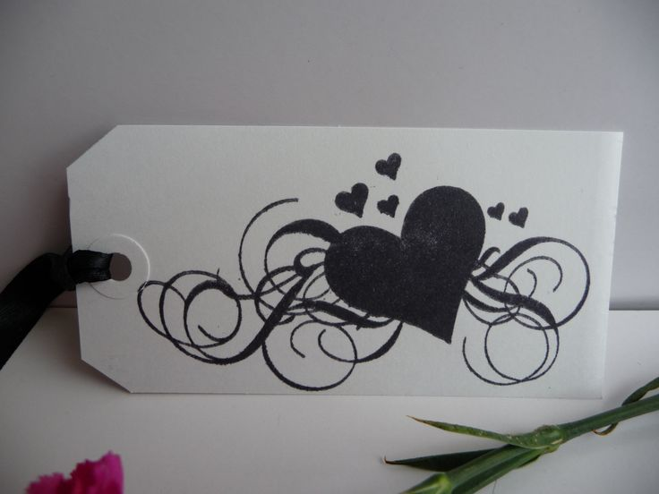 10 Handmade Heart Wedding Favour Name place Valentine black gift tags - pinned by pin4etsy.com