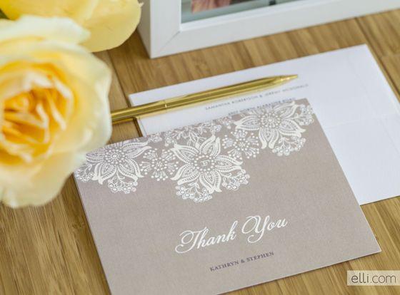 Elegant Lace Wedding Thank You Card