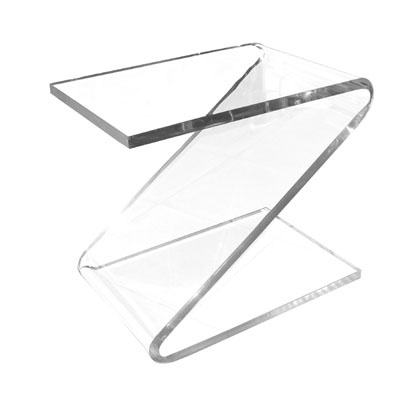 """Pair of lucite """"Z"""" tables by Charles Hollis Jones  Item Number: 211F4769  Circa Date: 1960  Country: USA  Dimensions: 24 1/2"""" wide x 16"""" deep x 22"""" high"""