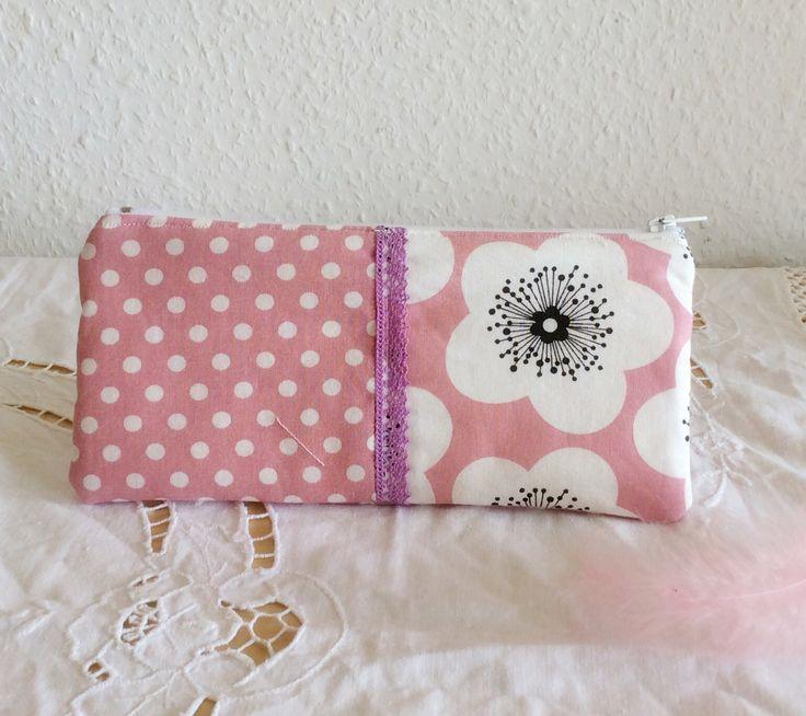 Trousse en coton maquillage - Trousse rose écru - Trousse romantique dimension 21x10 : Trousses par chenille-et-papillon