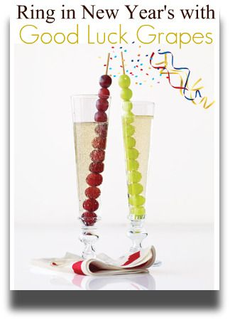 On New Year's Eve...do like the Spaniards do and eat grapes at midnight for good luck! Thread 12 grapes on a skewer for each guest and serve in a tall champagne flute.Ideas, Newyears, Champagne, Food, Parties, New Years Eve, Grape Juice, Drinks, Frozen Grape